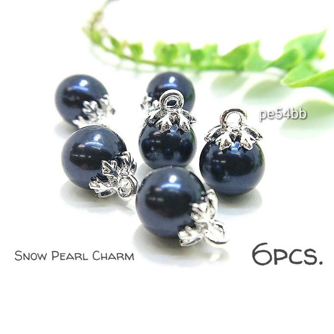 6個☆雪の結晶*シルバー色ヒートン☆パールチャーム☆ブルーブラック【pe54bb】