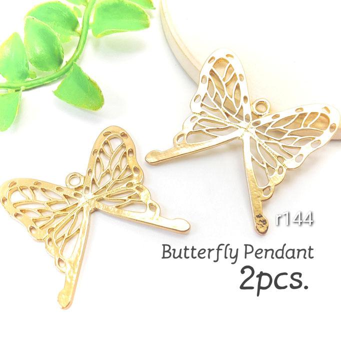 2個 約34×35mm 蝶々モチーフ空枠チャーム【r144】