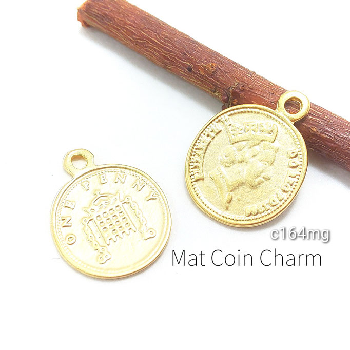 2個 高品質 ペニーコインデザインチャーム マットゴールド色【c164mg】