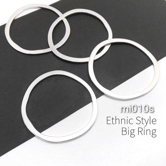 4個 約51×49mm エスニック調 ビッグ(大ぶり)リング☆シルバー色【mi010s】