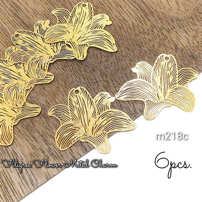 6個 薄*銅製 繊細な透かしフラワーデザインメタルチャーム C 約19×20mm【m218c】