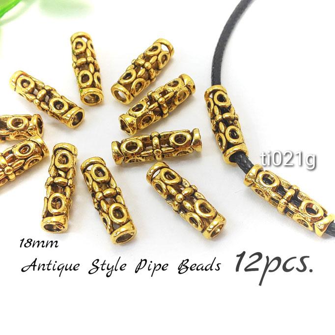 12個 約18×6mm アンティーク調パイプビーズ ☆ゴールド色【ti021g】