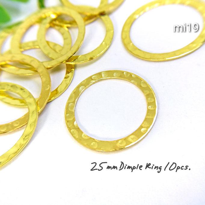 10個☆約25mm 真鍮製・細工リンクリング☆ゴールド【mi19g】
