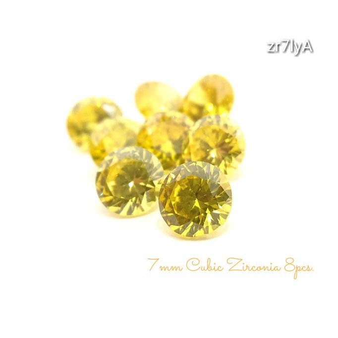 8粒☆7×4㎜ 高品質キュービックジルコニア《A》のダイヤカットストーン☆レモンイエロー【zr7lyA】