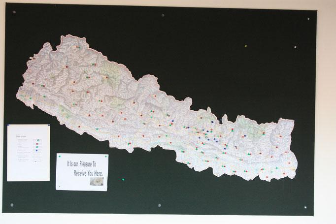 Übersicht der Outreach Clinics und Health Stations in Nepal