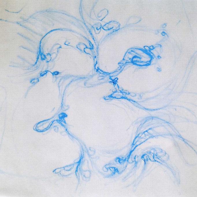 Esther Haltiner-Lüscher, Wachszeichnung aquarelliert auf Leinwand, 30x30 cm