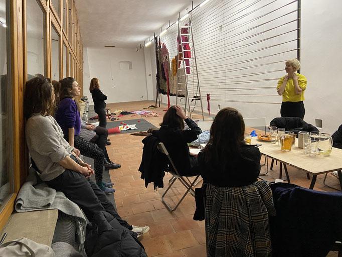 SALOON Praha at the Entrance Gallery with the curators Veronika Čechová, Tereza Jindrová, and the artist Johana Pošová. March 2020
