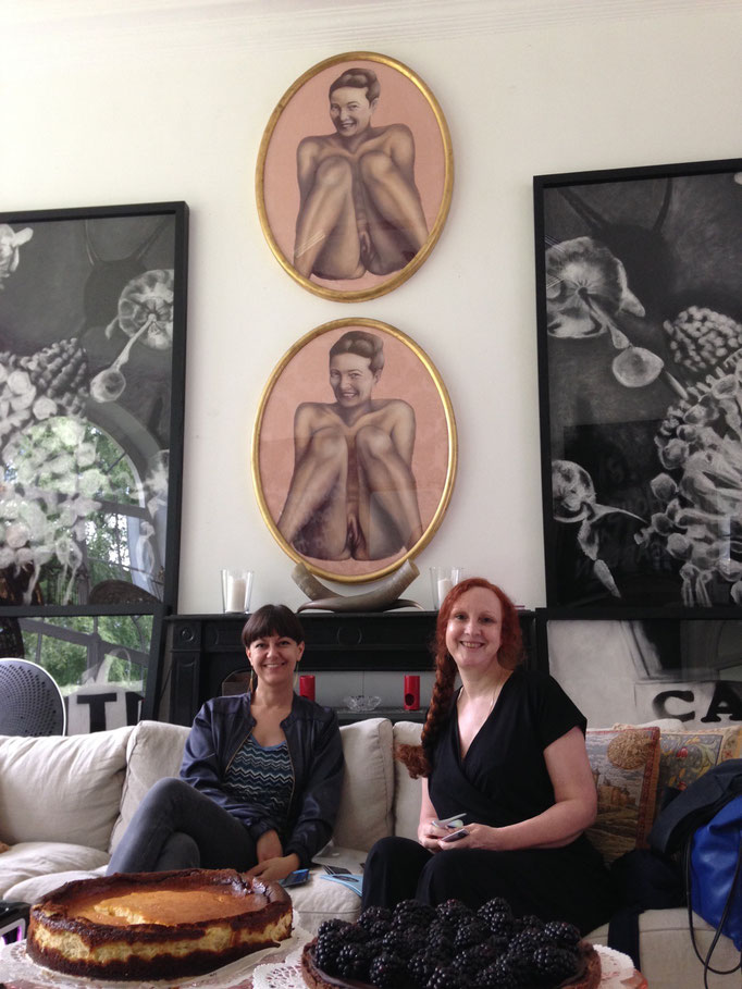 SALOON Paris founders Valentina Peri and Anne Roquigny at Centre Pompadour, works by Michaela Spiegel, 2019
