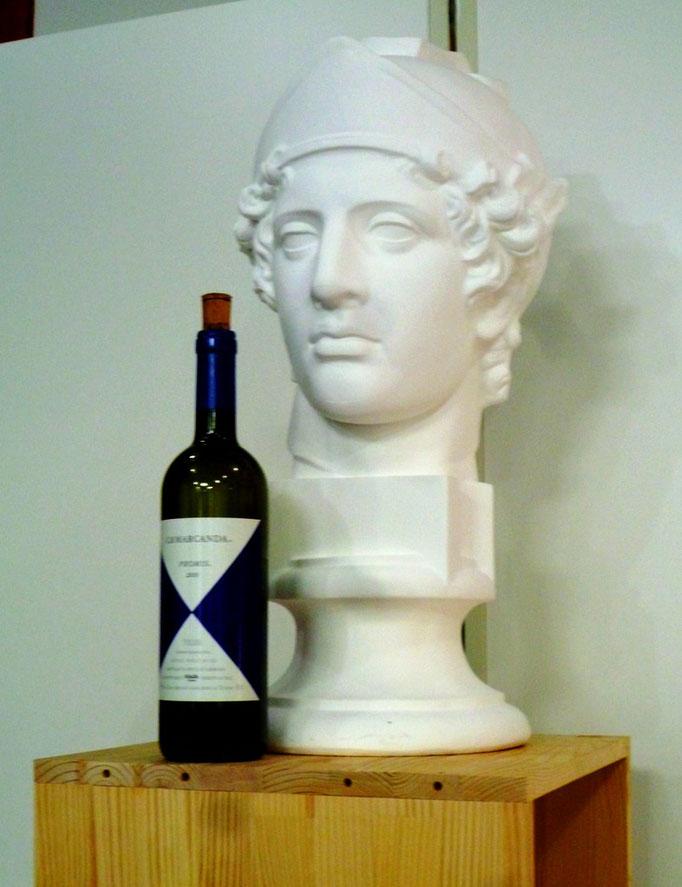 石膏デッサン(青年マルス+ワイン瓶)