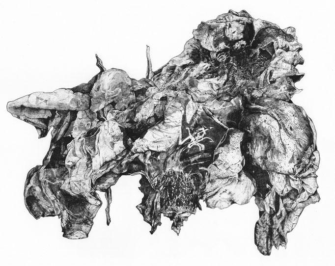 Quelques roses du jardin des Minuits- cuivre - 54,5/43 cm - 2016