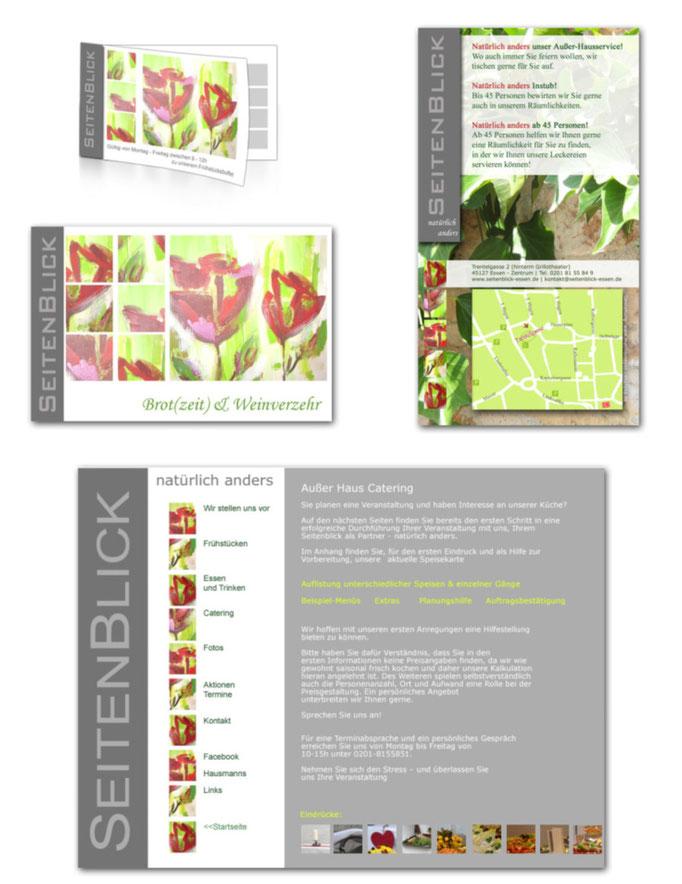 Flyer, Gutscheine und Webentwurf