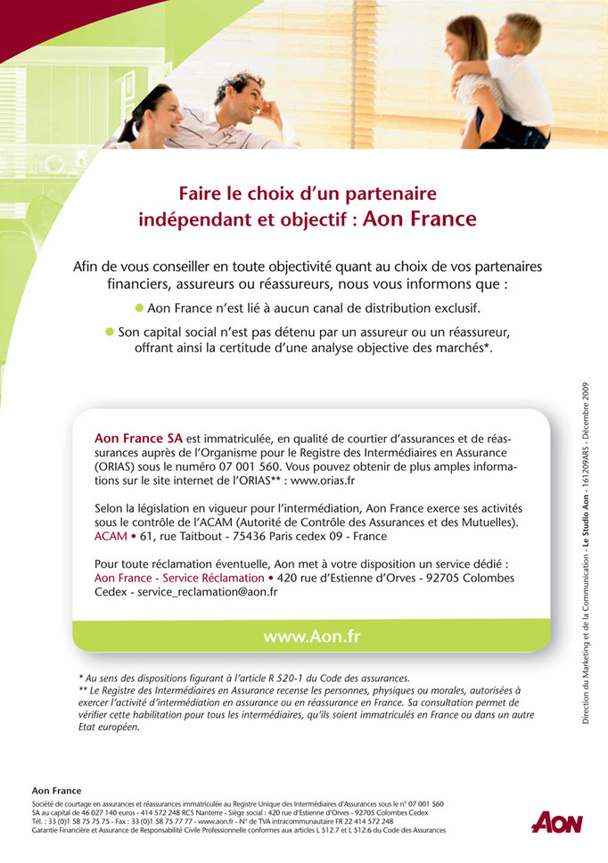 FLYER, Groupe Aon France, Verso