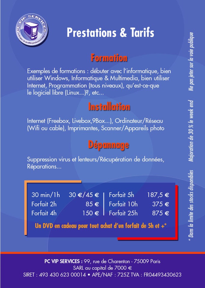 FLYER, PCVip Services, Verso