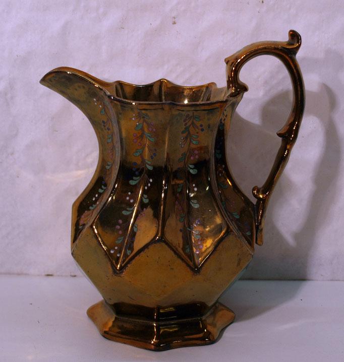4108/ Milchkanne ~1820, Kupferglasur, handgemalt, H 19cm, o.Marke, EUR 42,-