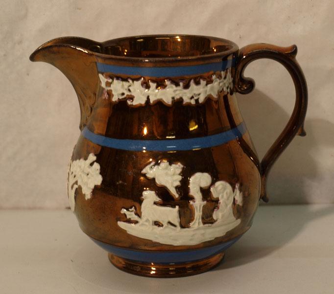 4110/ Sahnekännchen ~1820,Kupferglasur, handgemalt, H 11cm, o.Marke, EUR 38,-