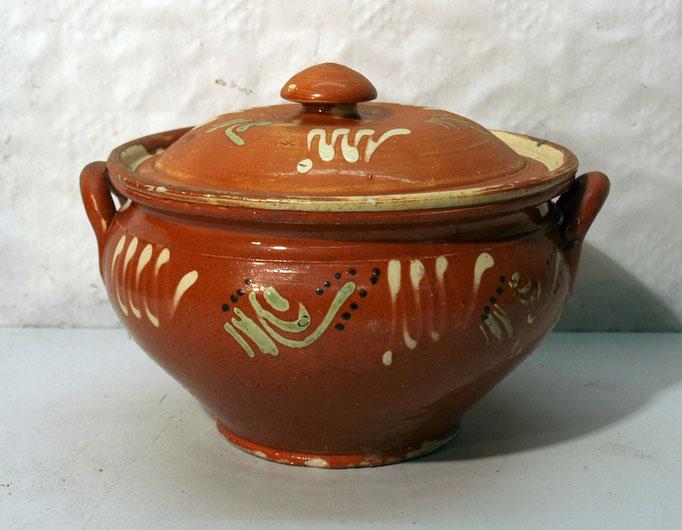 4245/ Keramikschale m. Deckel ~ 1830, Marburg, H 14, Ø 18cm, EUR 92,-
