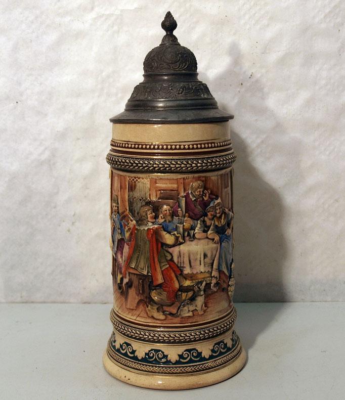 4270/ Bierkrug ~1900, Steingut, mit Spruch, H 17cm, EUR 68,-