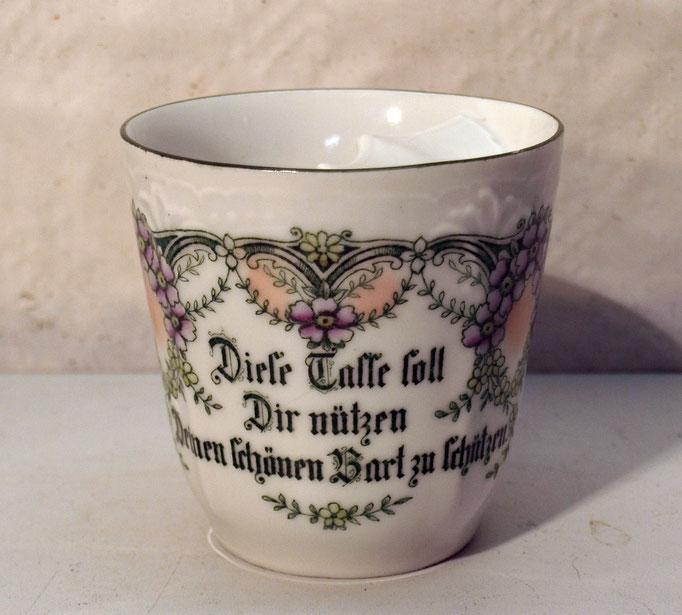 """4257/ Barttasse ~1910, Marke """"338/5"""", m. Spruch, H 8,5cm, Haarriss, EUR 40,-"""