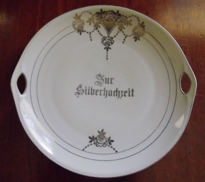 "3184/Teller ""Silberhochzeit"" ~1910, o.Marke, Ø 27 cm, EUR 20,-"