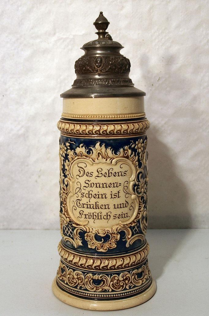 4272/ Bierkrug ~1900, Musikgesellschaft Hasberg, Steingut, H 28cm, EUR 78,-