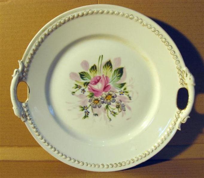 1346/Gebäckteller ~ 1850, handgemalt, Ø 25 cm, EUR 25,-