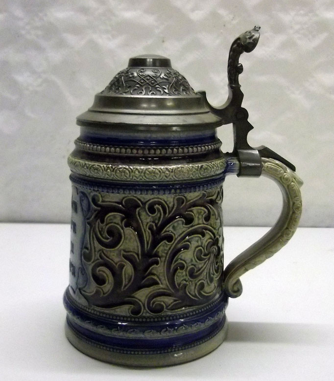4277/ Bierkrug ~1900, Steingut, mit Spruch, H 18cm, EUR 56,-