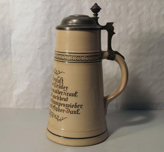 3882/Riesenbierkrug ~ 1900, Spruch, 2 L, H 30cm, EUR 210,-