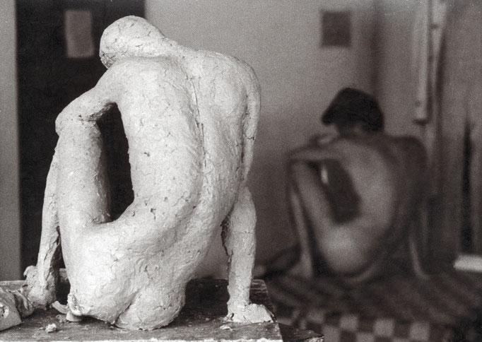 eigene Skulpur nach dem Aktmodell, Bildhauerei Universität Essen, 80er Jahre
