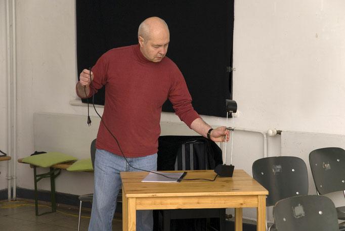 Michael Thamm beim Aufbau