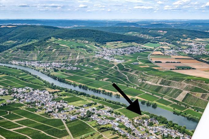 Lage des Ferienhauses aus der Luft - Ferienland Bernkastel-Kues