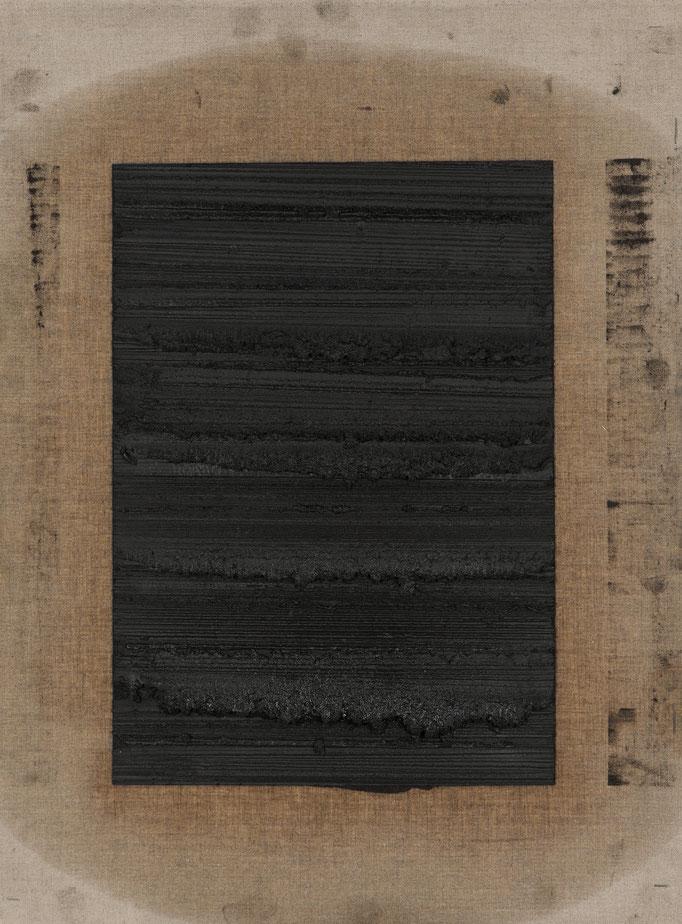 2014, Black Waves 3, 58x49 cm, graphite on linen