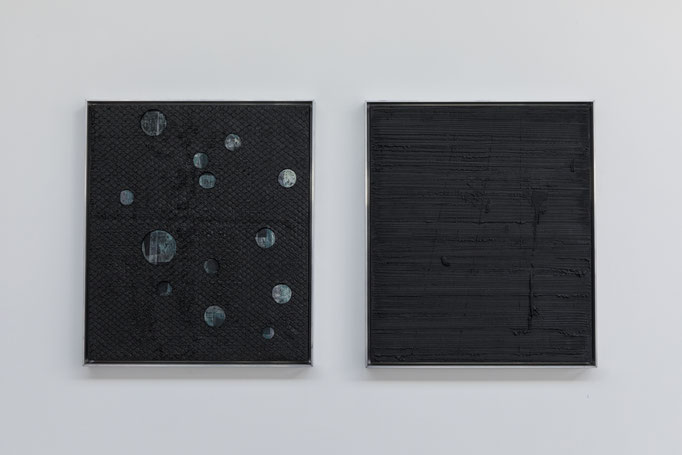 2017, graphite and oil on canvas, framed in steel