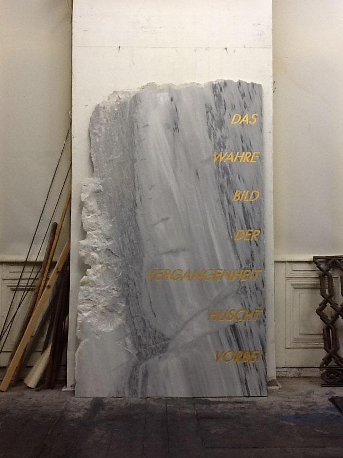 2012, stone engraving on marble, 210x120 (Walter Benjamin, Über den Begriff der Geschichte)