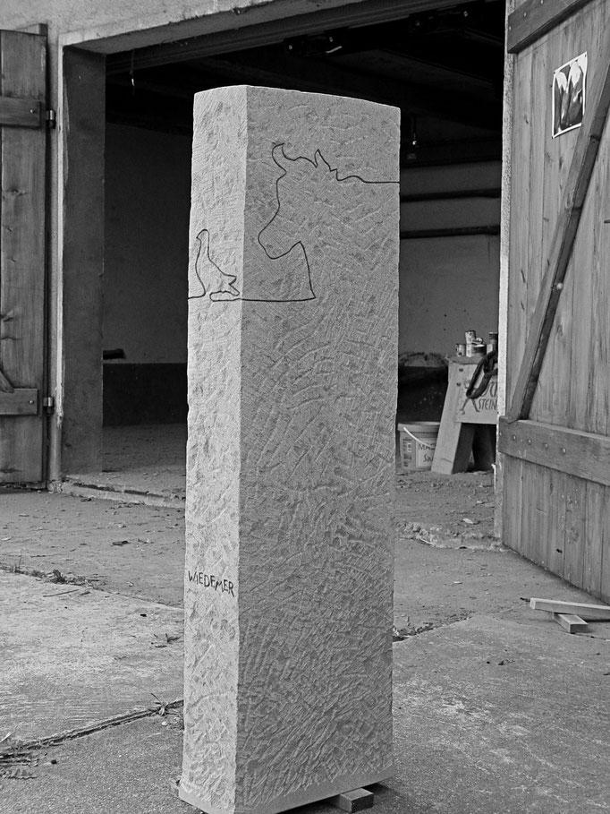 Grabstein Einsiedeln, Schwyz  - Tierarzt graviert Rückseite     -       Bildhauerei Wiedemer Basadingen - Thurgau