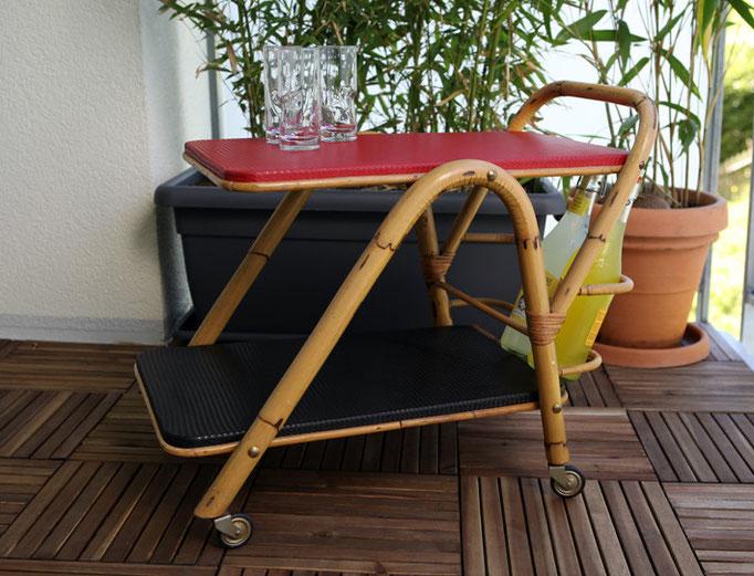 Bambus-Servierboy aus den 50er Jahren