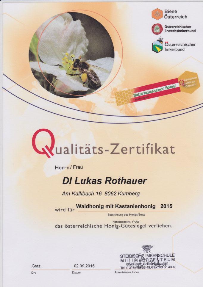 Qualitätszertifikat Waldhonig mit Kastanienhonig 2015