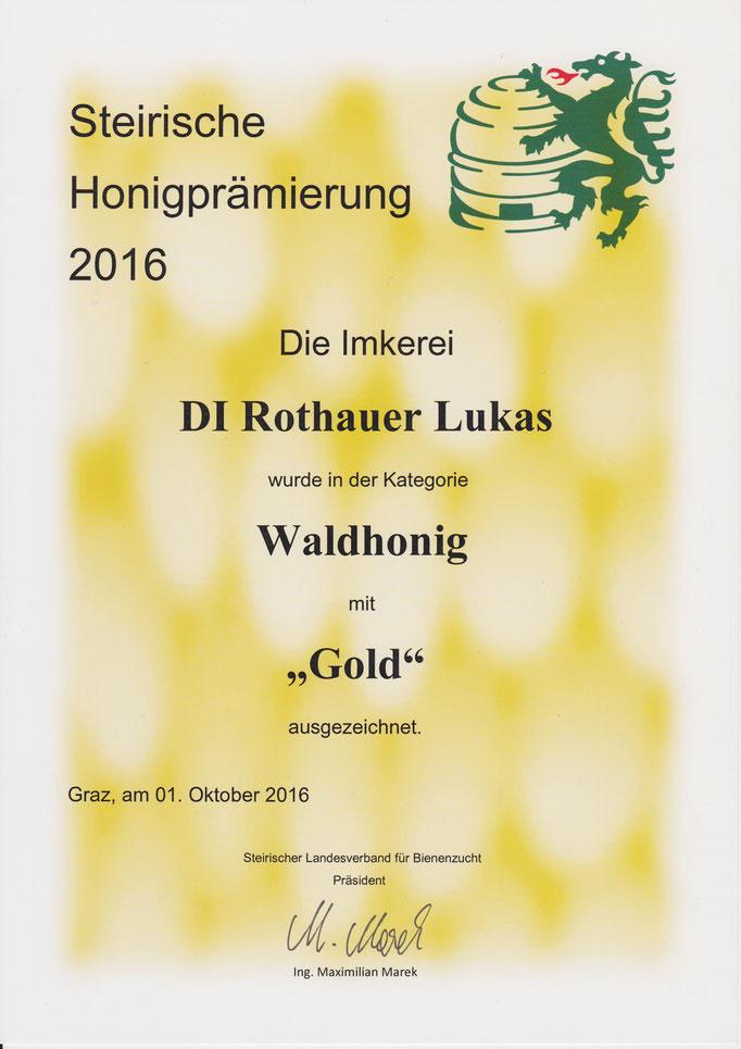 Goldmedaille Steirische Honigprämierung 2016