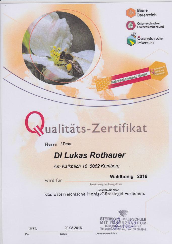 Qualitätszertifikat Waldhonig 2016