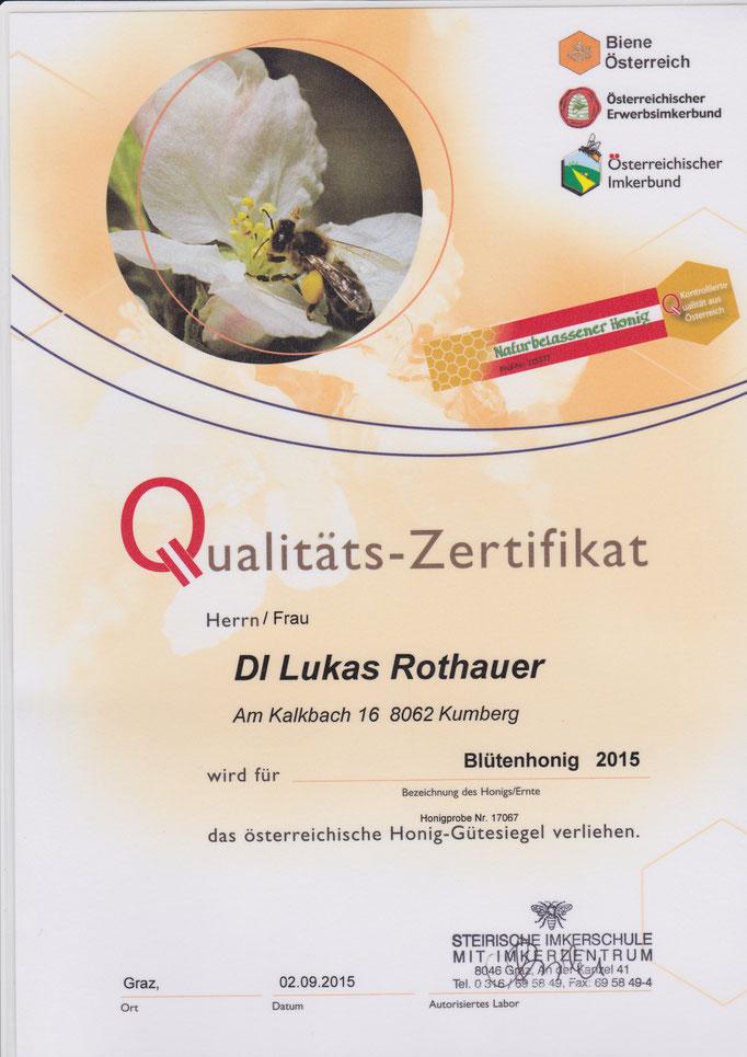 Qualitätszertifikat Waldhonig 2015