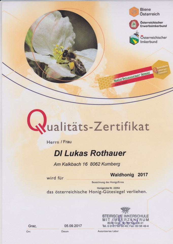 Qualitätszertifikat Waldhonig 2017