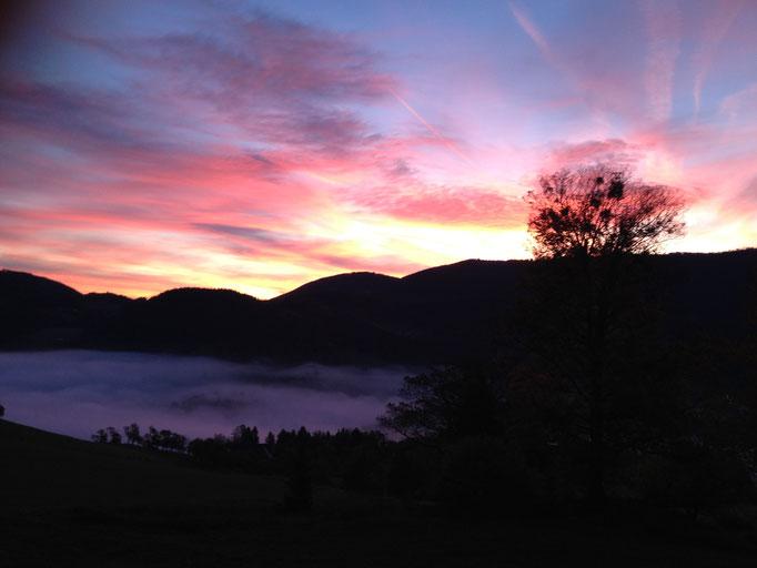 Sonnenaufgang. Der Nebel liegt im Tal