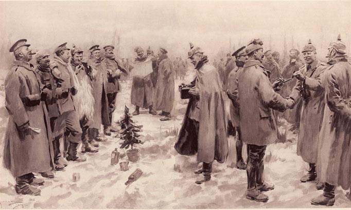 Illustration du London News du 9 janvier 1915 - Trêve de Noël.
