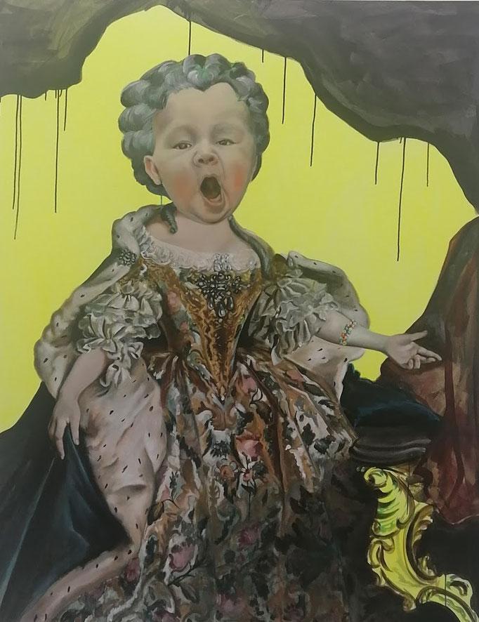 Katharina Karner, Herrscherbild 08 (Wanda als Maria Leszczynska nach Louis Tocqué), Öl, Acryl auf Leinwand, 180 x 140 cm, 2021