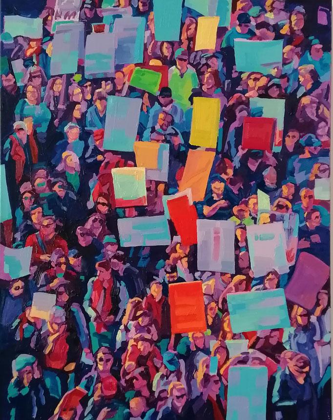 """Anton Petz, """"Ornament der Masse - I"""", 2020, Öl auf Lw., 90 x 70 cm"""
