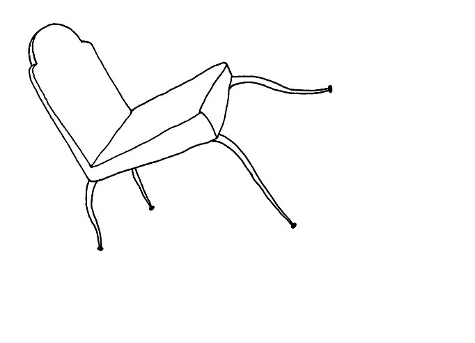 Elisa Andessner, Mobile / Möbel, Tusche auf Papier, 10 x 15 cm