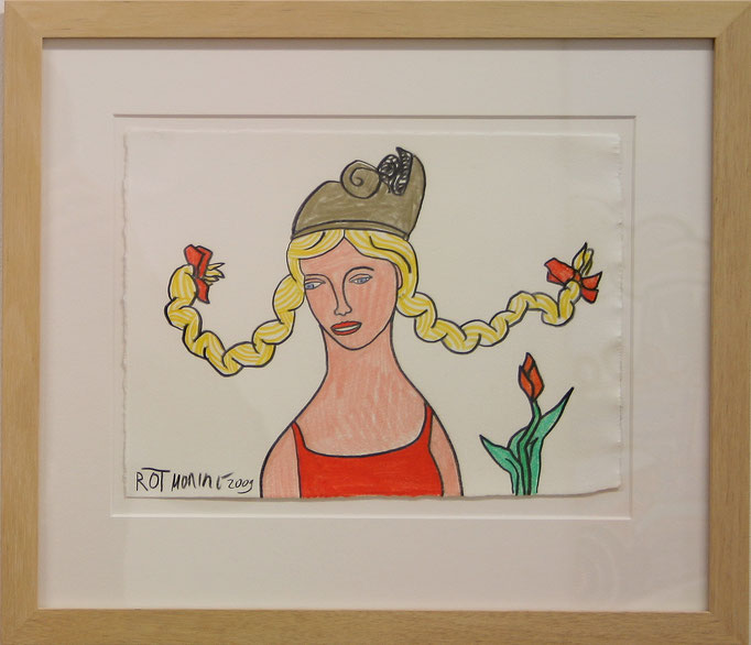 "Moritz Götze, ""Rot"", Mischtechnik auf Papier, gerahmt, 25 x 19 cm"