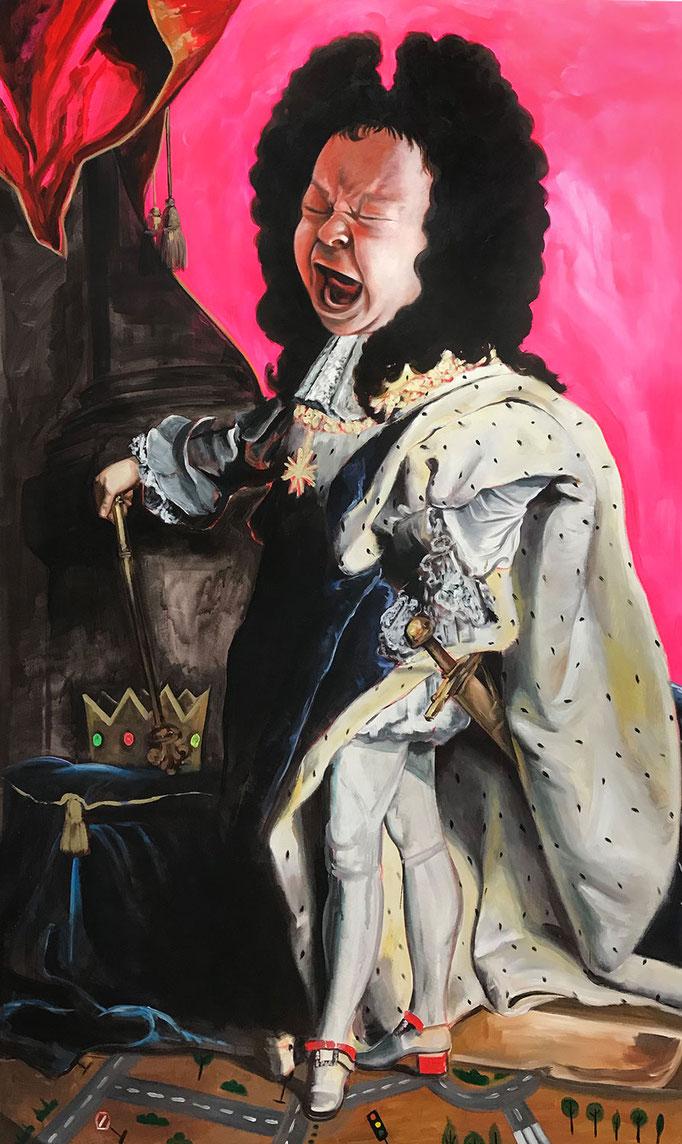 Katharina Karner, Herrscherbild 07 (Sebastian als Ludwig XIV nach Hyacinthe Rigaud), Öl, Acryl auf Leinwand, 230 x 140 cm, 2020/21