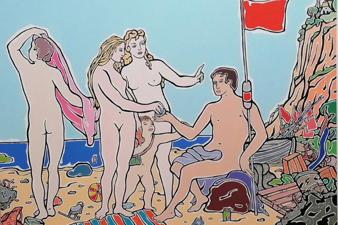 "Moritz Götze, ""Ahrenshoop, Sonnenschutzfaktor 20"", 2013, Öl auf Leinwand, 100 x 140cm"