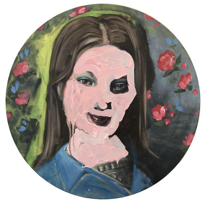 Katharina Karner, Meltdown Öl, Acryl auf Leinwand, Ø 49 cm, 2020