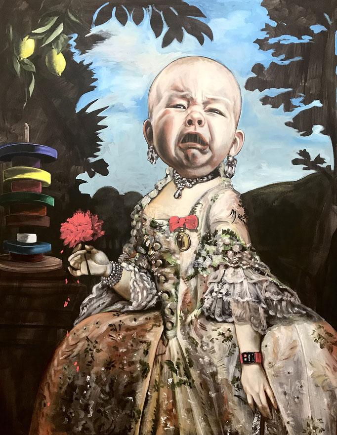 Katharina Karner, Herrscherbild 06 (Sarah als Maria Luise von Bourbon-Parma nach Anton Raphael Mengs) Öl, Acryl auf Leinwand, 180 x 140 cm, 2020